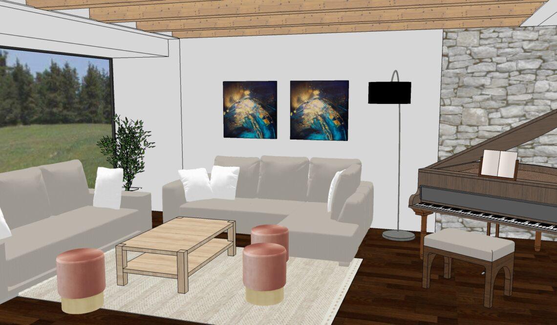 Návrh obývacího pokoje dle Feng Shui