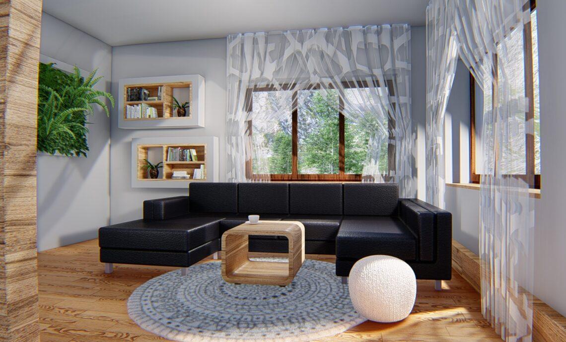 Obývací pokoj - Feng Shui návrh; fotorealistická vizualizace