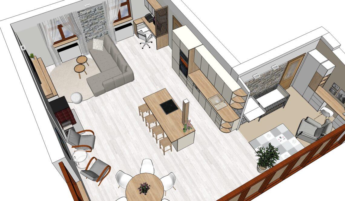 Feng Shui obývák v bungalovu - půdorysné řešení