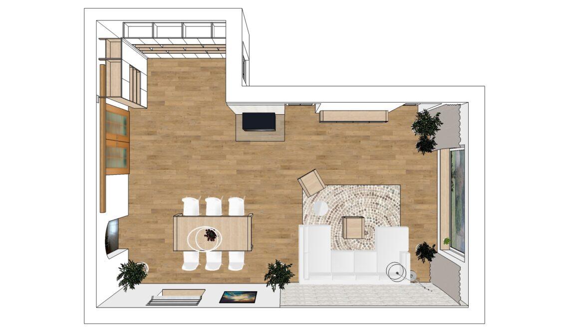 Návrh obývacího pokoje - půdorys