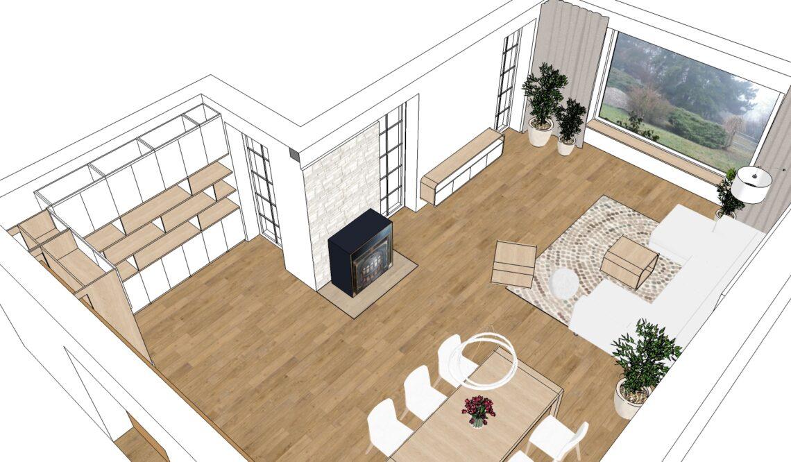 Návrh obývacího pokoje s americkými kamny