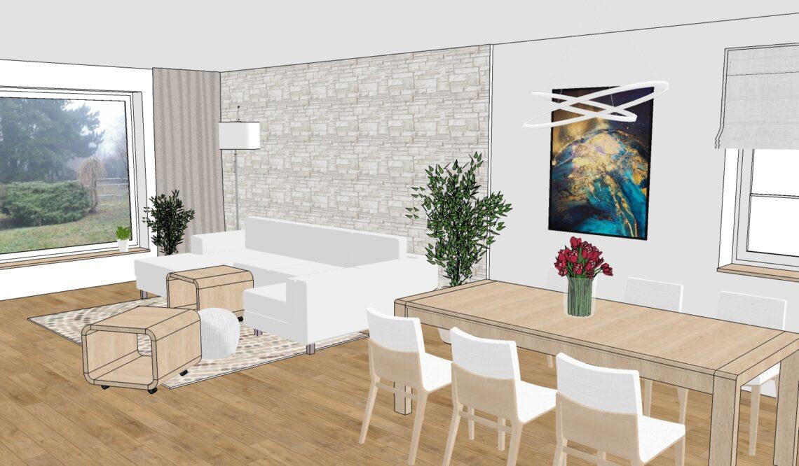 Návrh obývacího pokoje - vizualizace