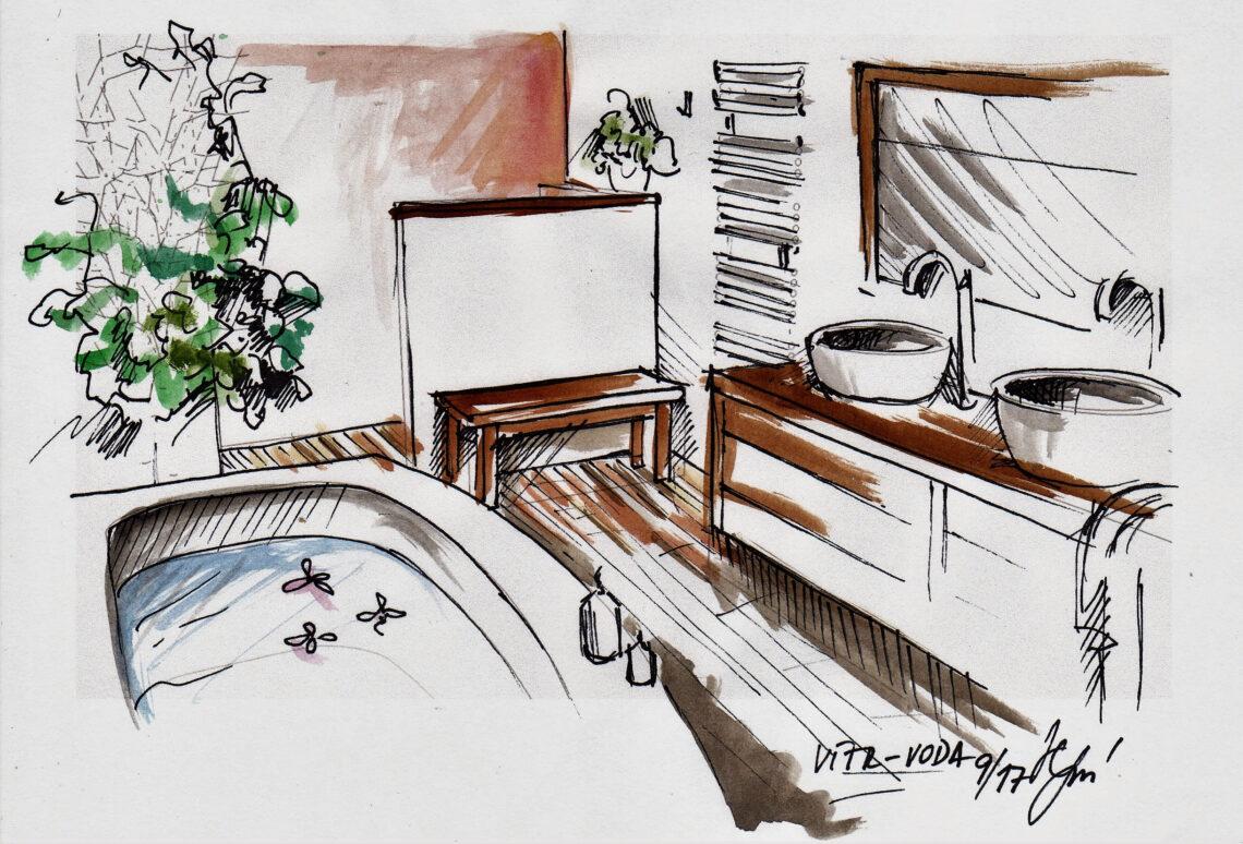 Návrh koupelny - skica, Feng Shui, Vítr-Voda, Monika Jelen Sýkorová
