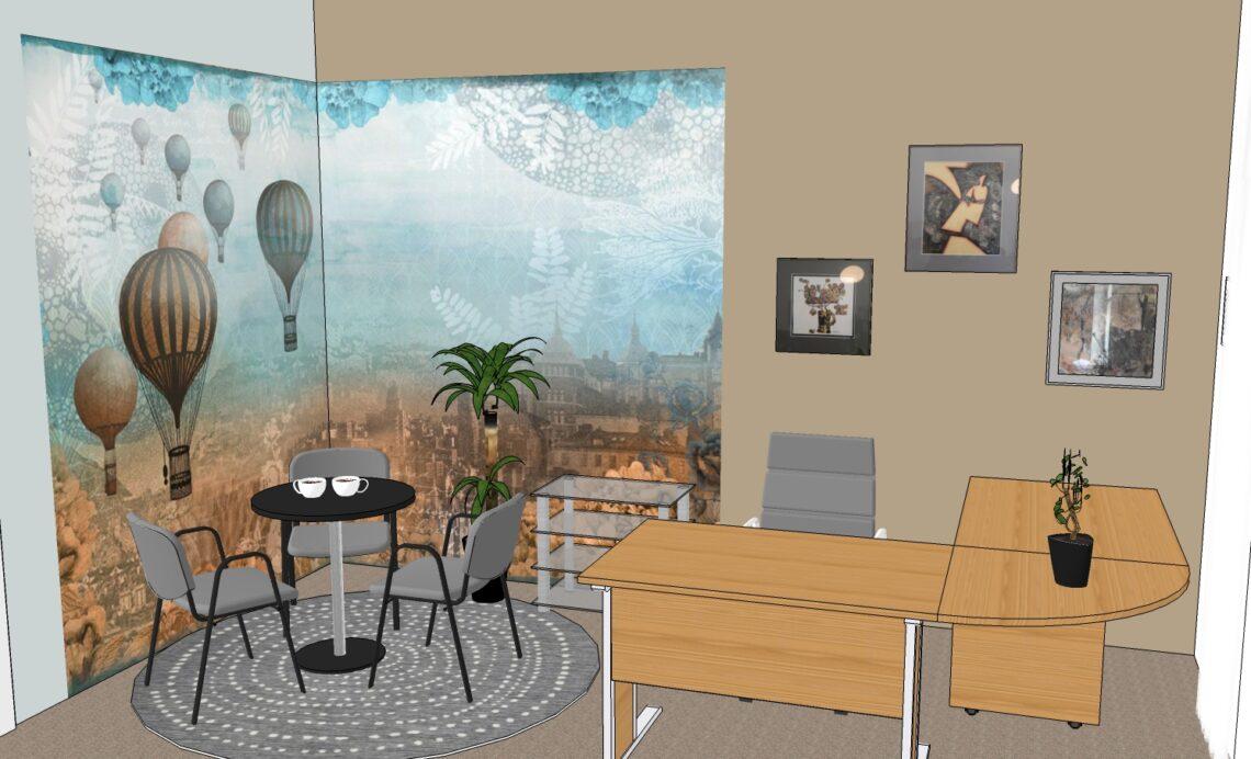 návrh pracovny, vizualizace, Feng Shui, Vítr-Voda