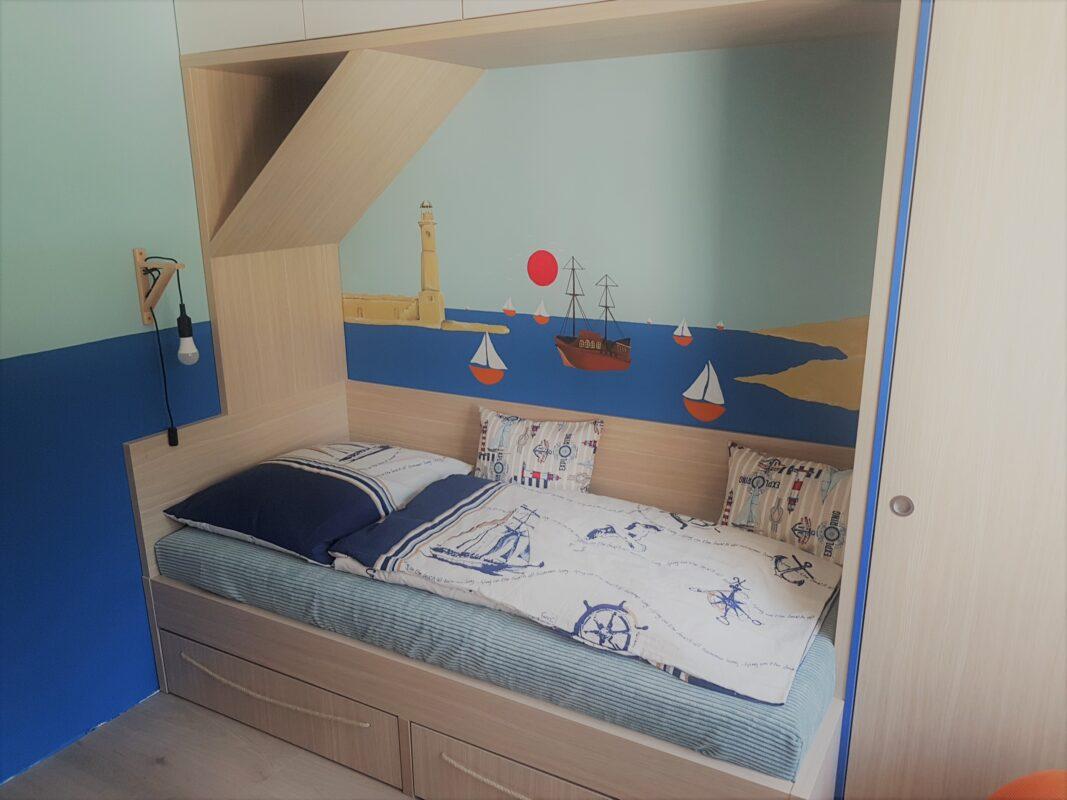 realizace dětstkého pokoje, autorská malba, Vítr-Voda