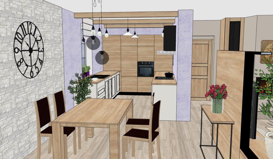 návrh kuchyně, vizualizace Vítr-Voda