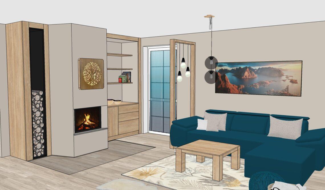 návrh obývacího pokoje, vizualizace, Vítr-Voda
