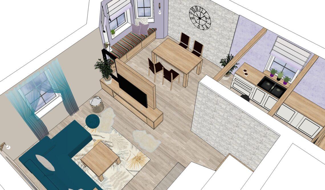řešení obývacího prostoru, vizualizace Vítr-Voda