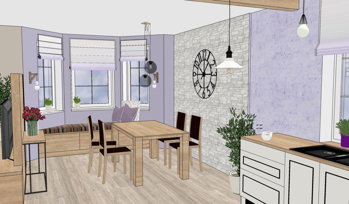 řešení obývacího pokoje s kuchyní a jídelnou