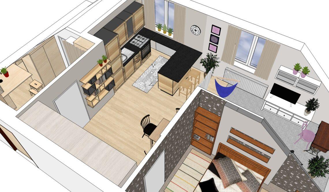 Návrh interiéru Vítr-Voda, vrchní pohled