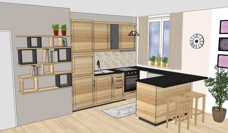 Vizualizace Vítr-Voda, návrh kuchyně