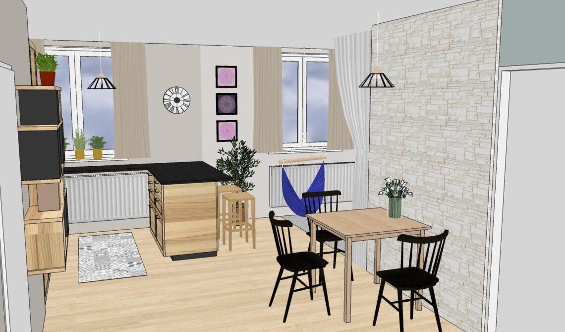 Vizualizace Vítr-Voda, návrh obývacího pokoje